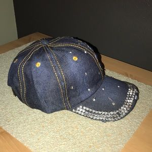 boutique Accessories - Jeweled distressed jean cap NWOT